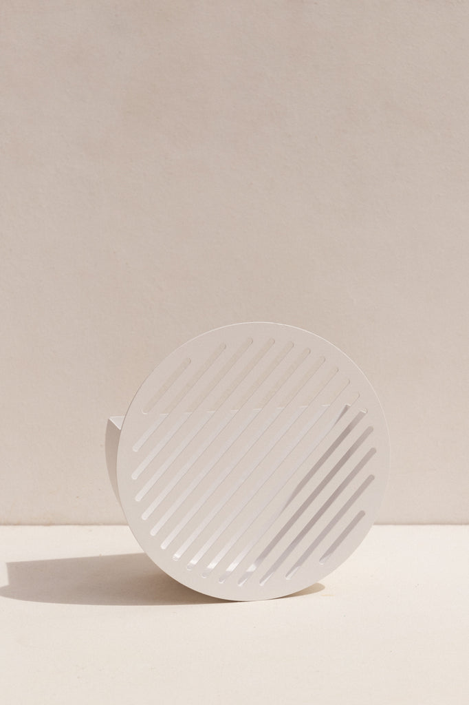 Swedish Ninja Diagonal wall basket in powder coated white on Makers' Mrkt Melbourne