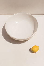 Gidon Bing large fruit bowl in satin white ceramic on Makers' Mrkt Makers Market Melbourne