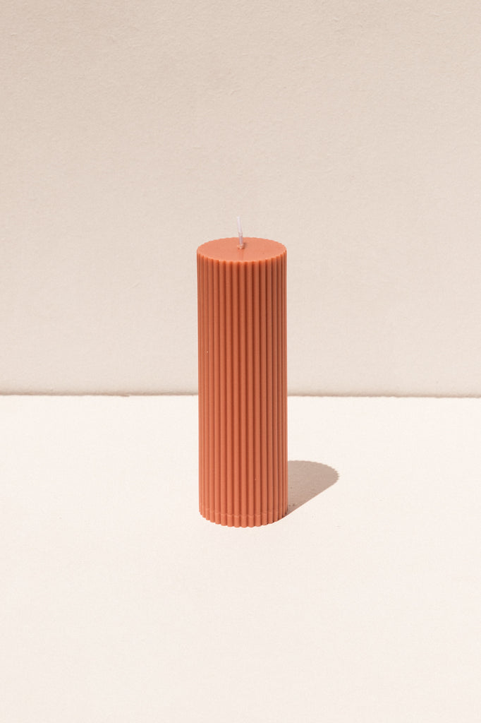 Black Blaze Pillar soy candle in blush peach . Makers Market Makers' Mrkt Melbourne