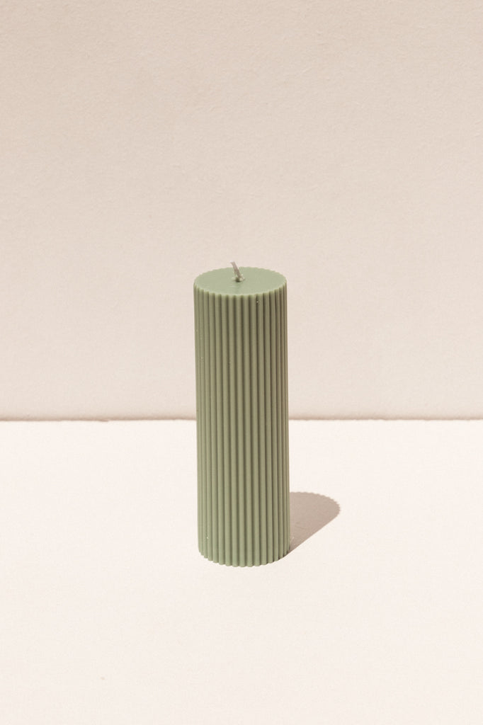 Black Blaze Pillar soy candle in eucalyptus green. Makers Market Makers' Mrkt Melbourne