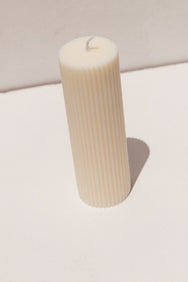 Black Blaze wide pillar candle in white on Makers' Mrkt Makers Market Melbourne