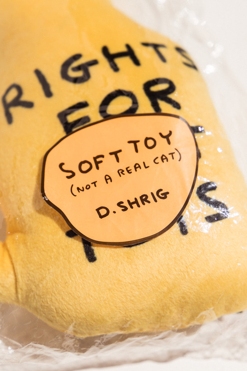 David Shrigley Rights for Soft Toys yellow soft toy cat on Makers' Mrkt makers market Melbourne