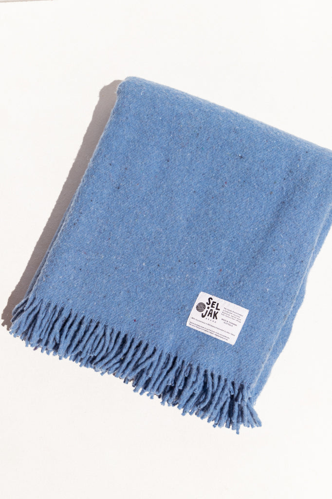 Makers' Mrkt Seljak recycled wool blanket in pale blue Makers' market Melbourne