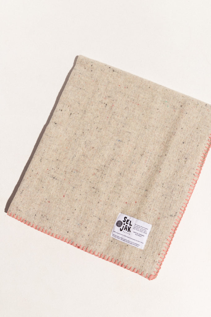 Seljak eco-friendly baby blanket in pink stitch and cream wool on Makers' Mrkt , makers market Melbourne