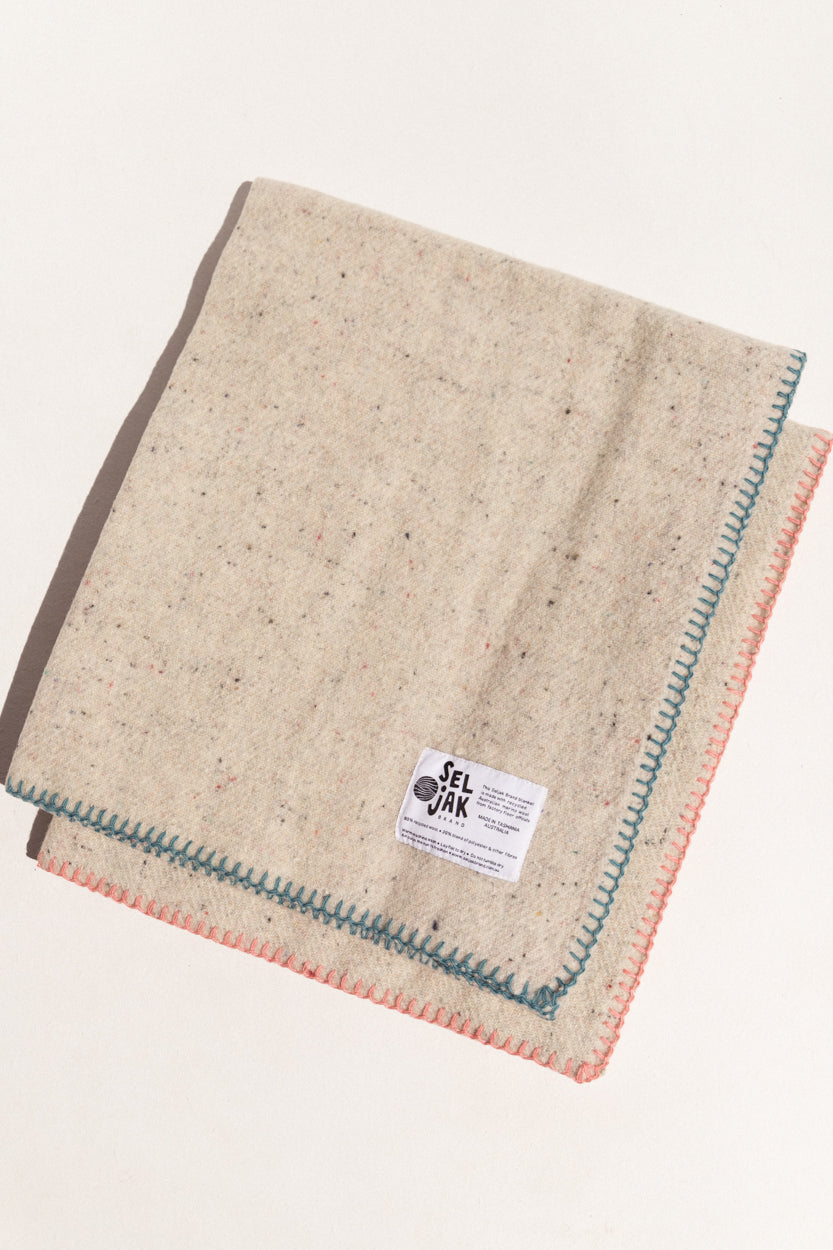 Seljak eco-friendly baby blanket in blue stitch and cream wool on Makers' Mrkt , makers market Melbourne