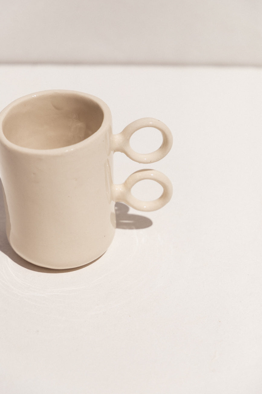 Abs Objects white ceramic scissor mug on Makers' Mrkt Makers Market Melbourne