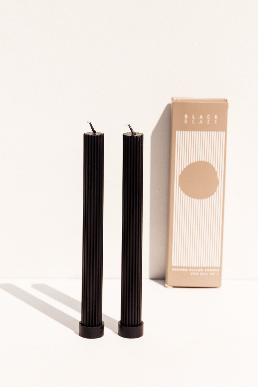 Black Blaze black pillar candle pair on Makers Mrkt Makers market Melbourne