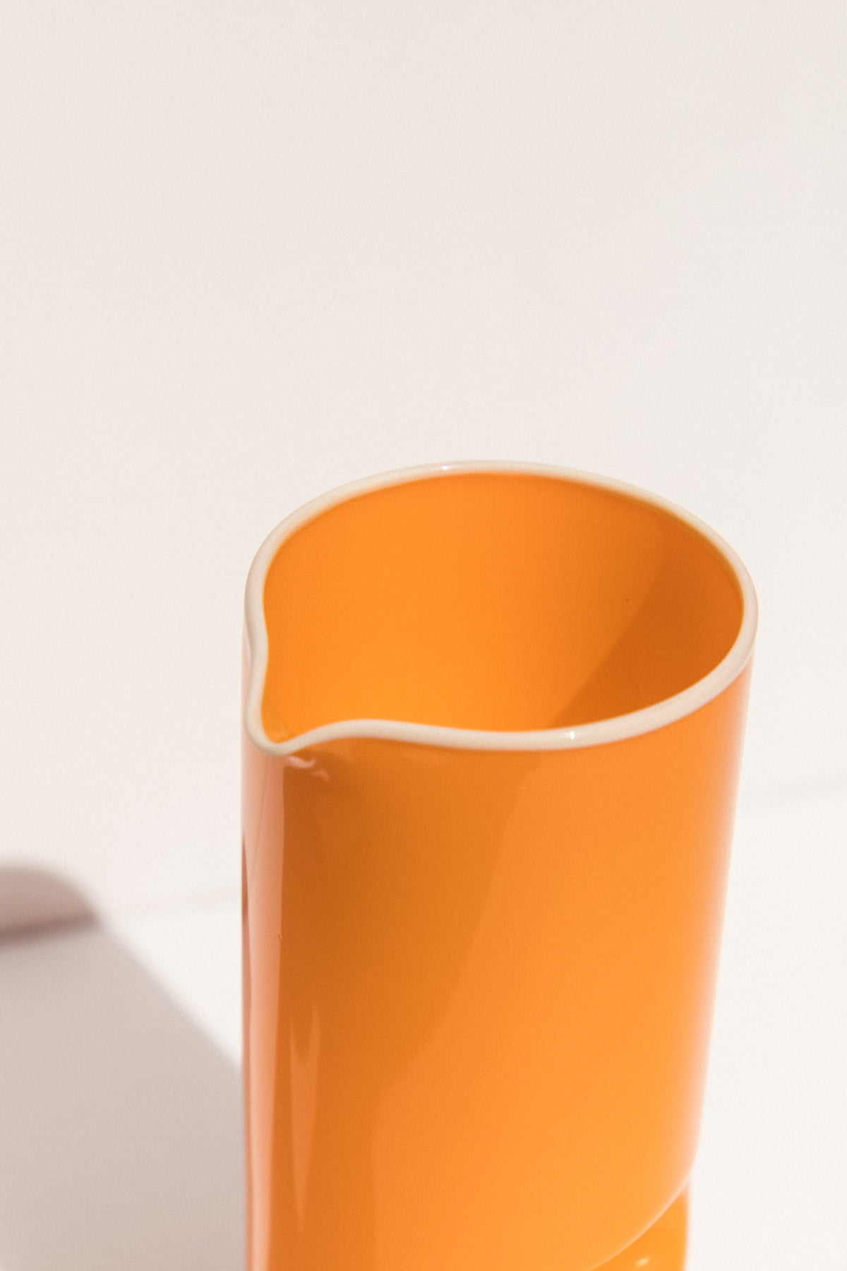 Drew Spangenberg Thumbprint glass jug in orange on makers' Mrkt Makers Market Melbourne