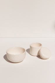 Gidon Bing white ceramic olive bowl in white crackle finish on Makers' Mrkt Makers Market Melbourne