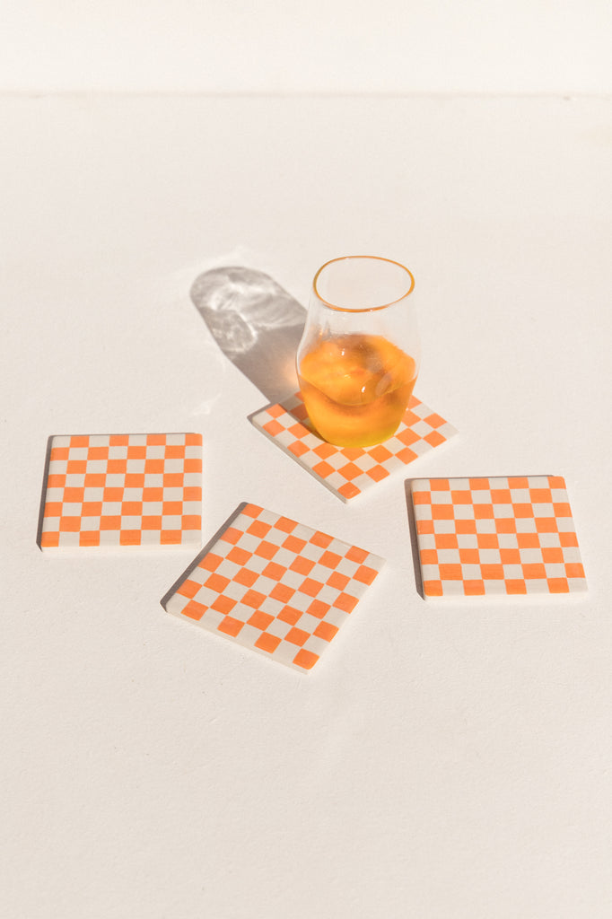 Orange Burst Capitalism is Disappearing  no. 64 ceramic checkerboard coasters holder Makers' Mrkt Makers market Melbourne