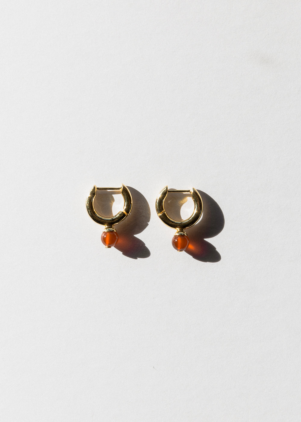 Jasmin Sparrow gold carnelian hoop earrings on Maker's mrkt Maker's market melbourne