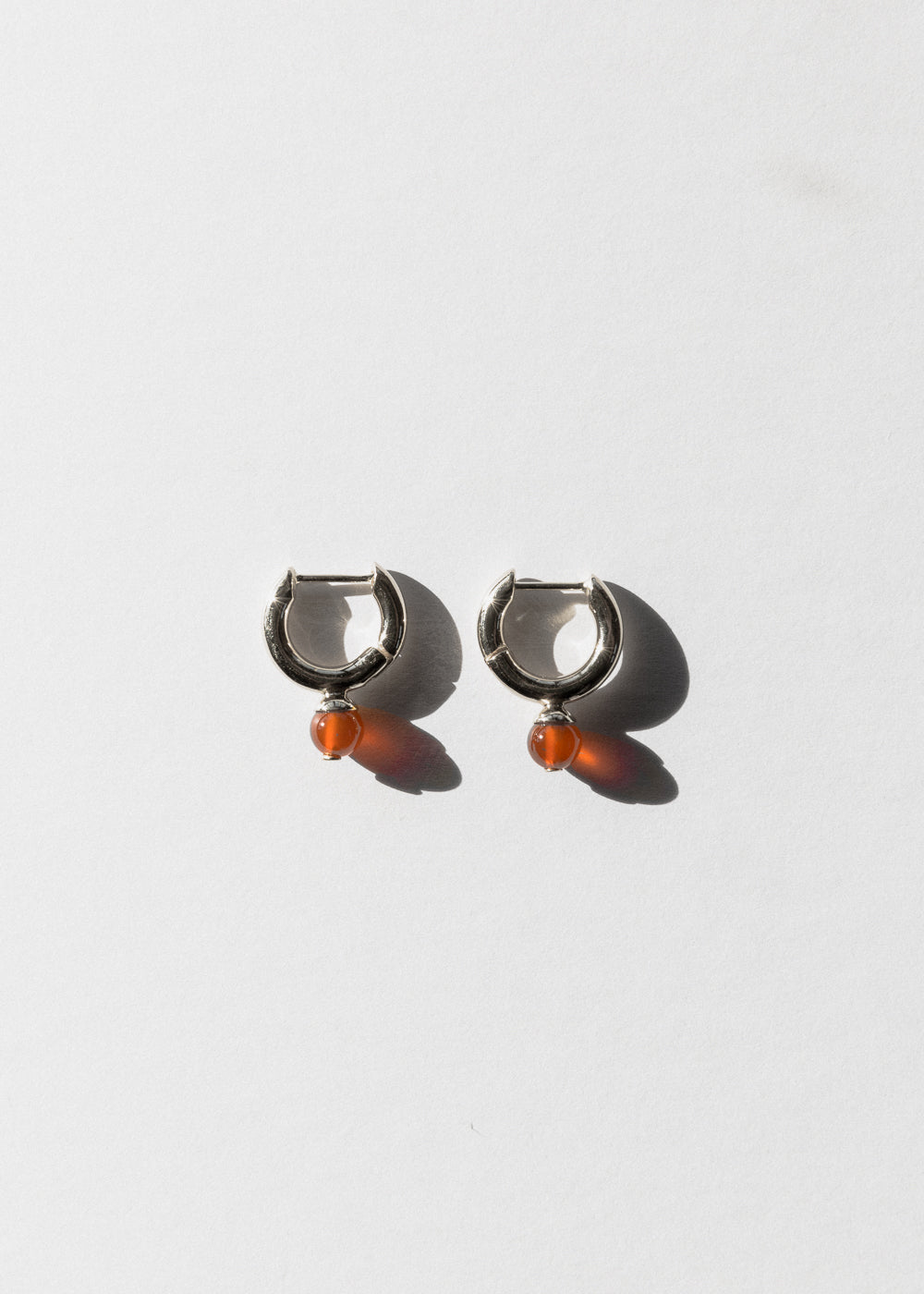 Jasmin Sparrow stirling silver carnelian hoop earrings on Maker's mrkt Maker's market melbourne