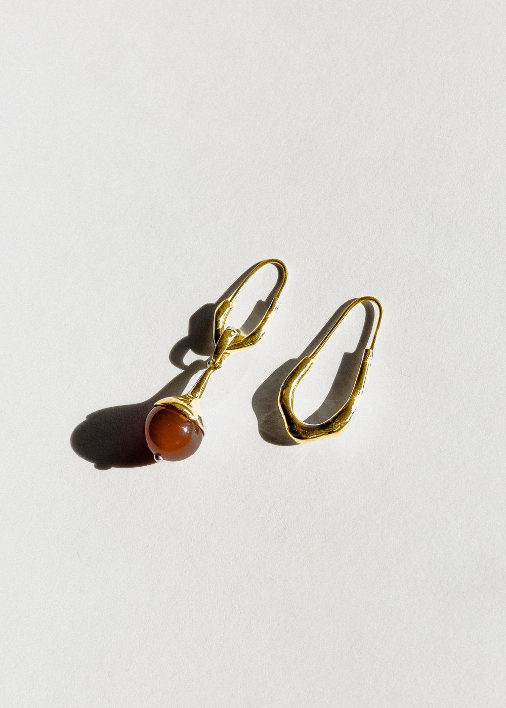 Jasmin Sparrow Lulu Carnelian gold asymmetrical earrings from Maker's Mrkt Melbourne. Makers Market