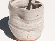 Kyokusen chalk white glazed hand-turned vase by Asobimasu Clay in Melbourne. Maker's Mrkt Makers Market