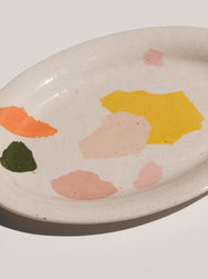 close up of Wundaire large stoneware platter in white with colourful irregular patterns. Maker's Mrkt Melbourne makers Market. Beautiful gift idea