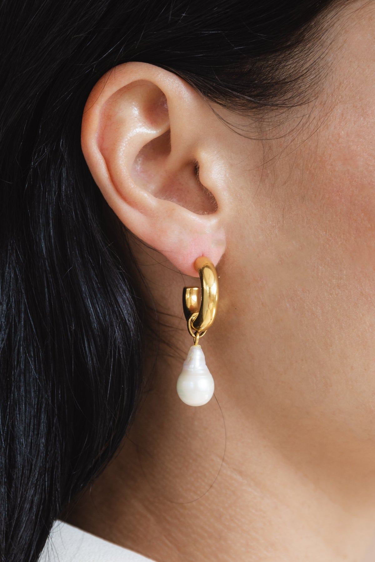 Flash jewellery Paloma Pearl Hoops in Gold from Maker's Mrkt Melbourne Maker's Market