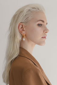 Pretty blonde model wearing Flash jewellery Paloma Pearl Hoops in Gold from Maker's Mrkt Melbourne Maker's Market