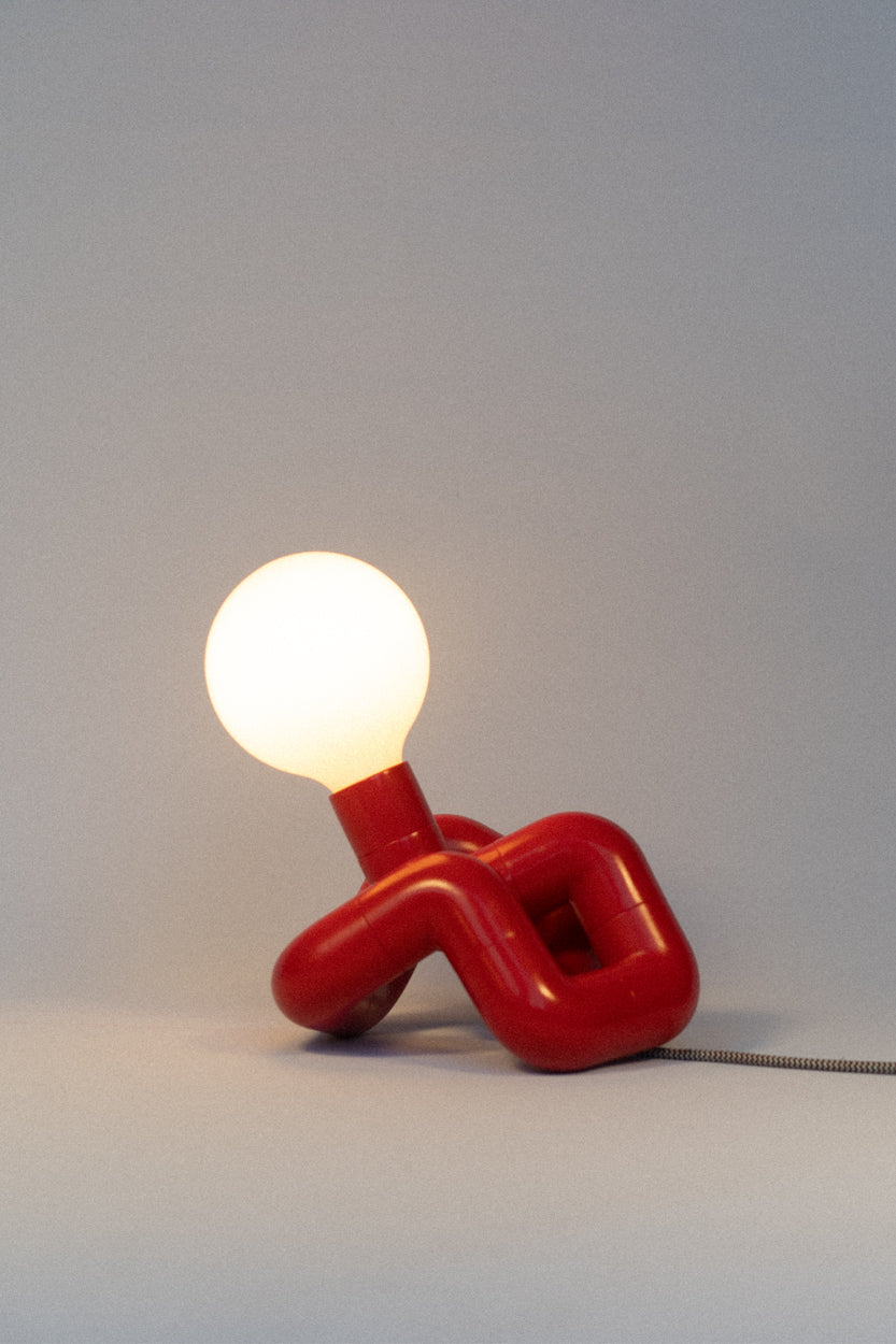FISCH red PVC lamp with large globe on Makers' Mrkt Melbourne, Makers Market