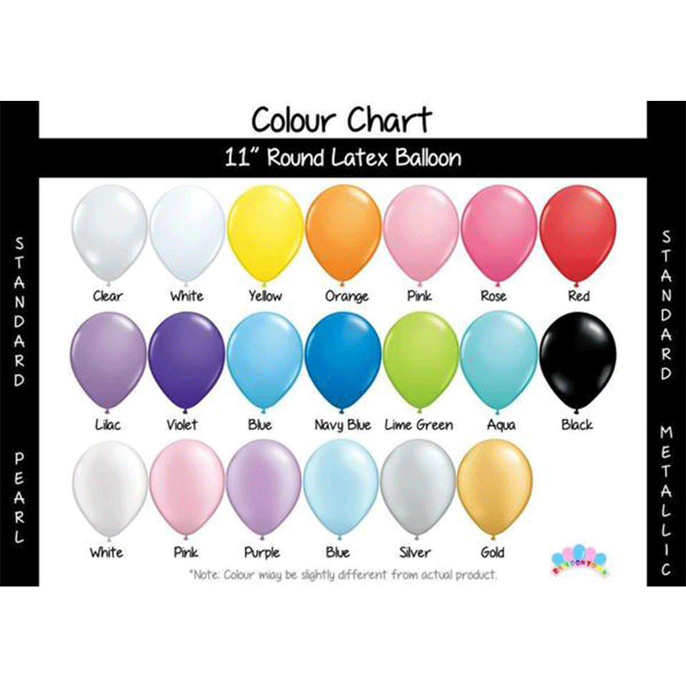 Latex Balloons (Standard Colours)  - Suitable for Helium or Air-filled Balloons Balloon Town - Party Boulevard Singapore Balloons Helium
