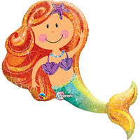 "Giant Smiley Mermaid Foil Balloons (38"") Balloons Balloon Town - Party Boulevard Singapore Balloons Helium"