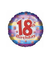 "Happy 18th Birthday Stripe Balloon (18"") Balloons Balloon Town - Party Boulevard Singapore Balloons Helium"