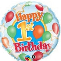"First Birthday Happy Birthday Foil Balloons (18"") Balloons Balloon Town - Party Boulevard Singapore Balloons Helium"