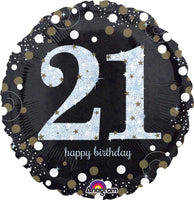 "21st Birthday Sparkling Happy Birthday Foil Balloons (18"")"