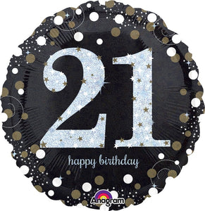 "21st Birthday Sparkling Happy Birthday Foil Balloons (18"") Balloons Balloon Town - Party Boulevard Singapore Balloons Helium"