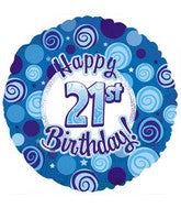 "21st Happy Birthday Blue Dazzeloon Foil Balloons (18"")"
