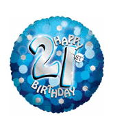 "21st Happy Birthday Holographic Party Balloons (18"") Balloons Balloon Town - Party Boulevard Singapore Balloons Helium"