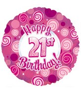"21st Happy Birthday Pink Dazzeloon Foil Balloons (18"") Balloons Balloon Town - Party Boulevard Singapore Balloons Helium"