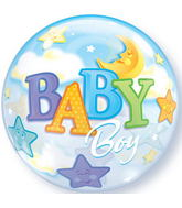"Baby Boy Moon & Stars Bubble Balloons (22"")"
