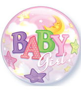"Baby Girl Moon & Stars Bubble Balloons (22"")"