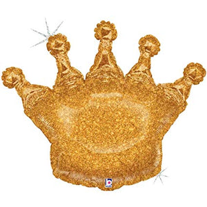 "Golden Glitter Crown Giant Foil Balloons (36"") Balloons Balloon Town - Party Boulevard Singapore Balloons Helium"