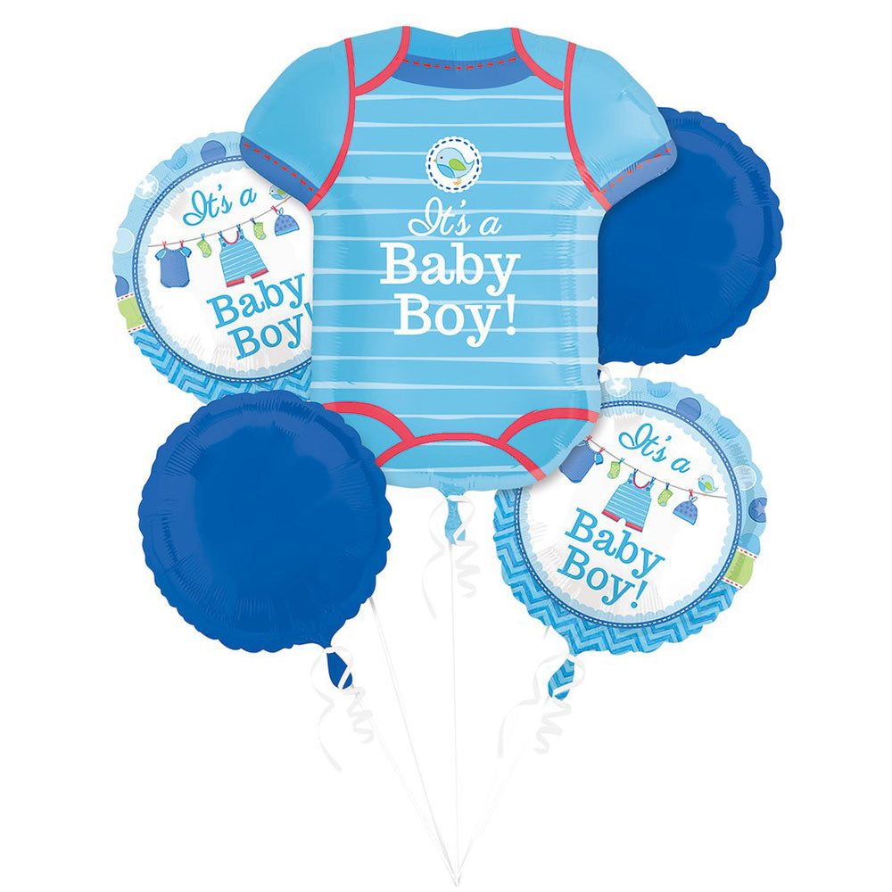 Baby Shower With Love Boy Bouquet Balloons (5 pieces) Balloons Balloon Town - Party Boulevard Singapore Balloons Helium