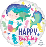 "Colorful Ocean Mermaid Birthday Balloons (18"") Balloons Balloon Town - Party Boulevard Singapore Balloons Helium"