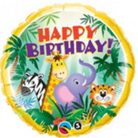 "Jungle Friends Happy Birthday Foil Balloons (18"")"