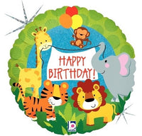 "Jungle Animals Happy Birthday Foil Balloons (18"")"
