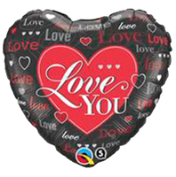"Love You Black with Red Heart Shape Foil Balloons (18"")"