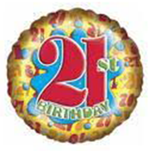 "21st Birthday Splash Foil Balloons (18"") Balloons Balloon Town - Party Boulevard Singapore Balloons Helium"