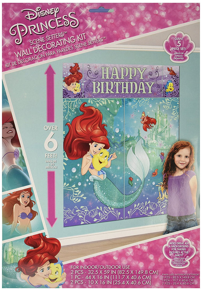 Enchanting Disney Mermaid Ariel Dream Party Wall Decorating Kit (5 Piece) 1.5m x 1.6m Party Deco Party Boulevard - Party Boulevard Singapore Balloons Helium