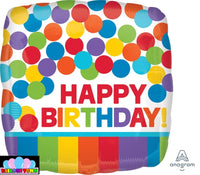 "Primary Rainbow Happy Birthday Foil Balloons (18"")"