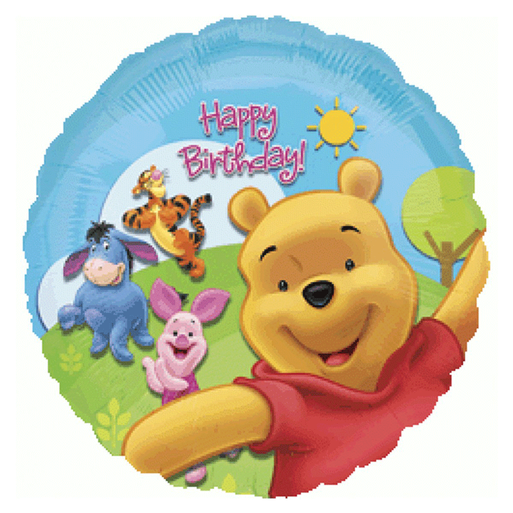"Winnie The Pool Happy Birthday Foil Balloons (18"") Balloons Balloon Town - Party Boulevard Singapore Balloons Helium"