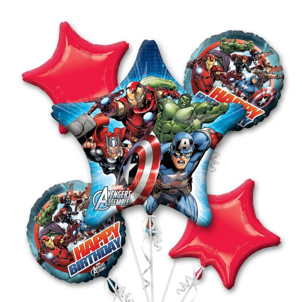 Marvel Avengers Birthday Bouquet Foil Balloons Balloons Balloon Town - Party Boulevard Singapore Balloons Helium