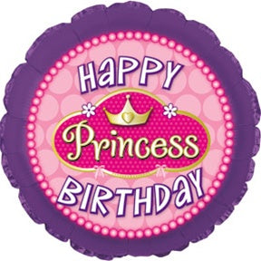 "Happy Birthday Princess Pink Pearls Foil Balloons (18"") Balloons Balloon Town - Party Boulevard Singapore Balloons Helium"
