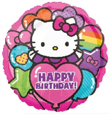 "Hello Kitty Rainbow Happy Birthday Foil Balloons (18"") Balloons Balloon Town - Party Boulevard Singapore Balloons Helium"