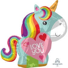 Unicorn Shape Love You Foil Balloons Balloons Balloon Town - Party Boulevard Singapore Balloons Helium