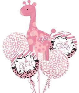 It'a Girl Giraffe Baby Shower Bouquet Foil Balloons Balloons Balloon Town - Party Boulevard Singapore Balloons Helium