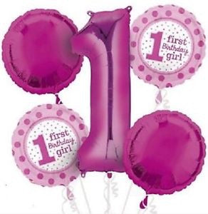 Pink Dots First Birthday Girl Bouquet Foil Balloons Balloons Balloon Town - Party Boulevard Singapore Balloons Helium
