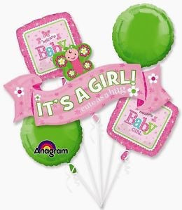 It'a Girl Cute A Bug Baby Shower Bouquet Foil Balloons Balloons Balloon Town - Party Boulevard Singapore Balloons Helium